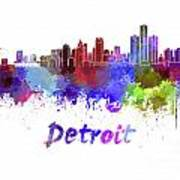 Detroit Skyline In Watercolor Art Print