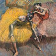 Deux Danseuses Jaunes Et Roses Art Print