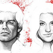 Dexter And Debra Morgan Art Print