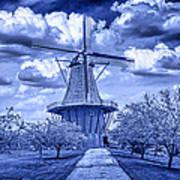 deZwaan Holland Windmill in Delft Blue Art Print