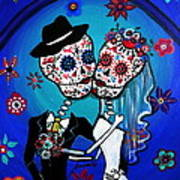 Dia De Los Muertos Kiss The Bride Art Print