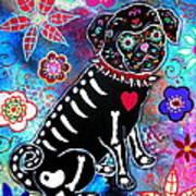 Dia De Los Muertos Pug Art Print by Pristine Cartera Turkus