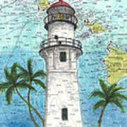 Diamond Head Lighthouse Hi Nautical Chart Map Art Art Print