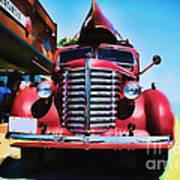 Diamond T Truck - Tomato Red Art Print