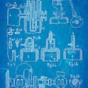 Diesel Internal Combustion Engine Patent Art 1898 Blueprint Art Print