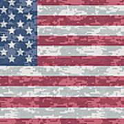 Digital Camo Us Flag Art Print