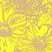 Digital Cone Flowers Drawing Art Print