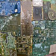 Digital D N A - Circuit Board Statue Art Print