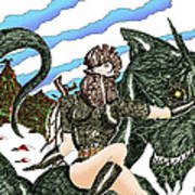 Digital Dragon Rider Colour Version Art Print