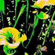 Digital Green Yellow Abstract Art Print