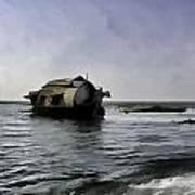 Digital Oil Painting - A Houseboat Moving Placidly Through A Coastal Lagoon Art Print
