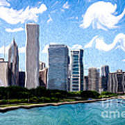 Digitial Painting Of Downtown Chicago Skyline Art Print by Paul Velgos