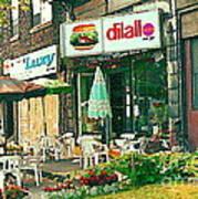 Dilallo Burger Diner Paintings Originalclassic Vintage Burger Joint St Henri St Catherine Cityscene  Art Print