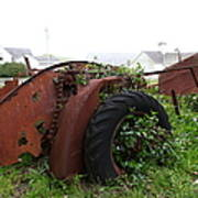 Dilapidated Farm Tractor At The Old Pierce Point Ranch In Foggy Point Reyes California 5d28120 Print by Wingsdomain Art and Photography