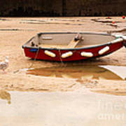 Dinghy At Low Tide In St Ives Cornwall Art Print