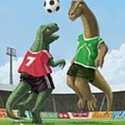 Dinosaur Football Sport Game Print by Martin Davey