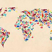 Dinosaur Map Of The World  Art Print