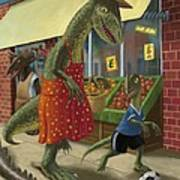 Dinosaur Mum Out Shopping With Son Art Print