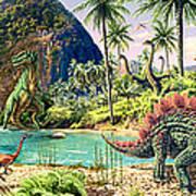 Dinosaur Volcanos Art Print