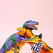 Dinosaurs Hugging Art Print