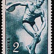 Discus Vintage Postage Stamp Print Art Print