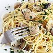 Dish Of Spaghetti With Clams Art Print