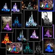 Disney Magic Kingdom Castle Collage Art Print