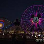 Disneyland Ferris Wheel At Dark Art Print