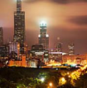 Distant Lights - Chicago Illinois Skyline Art Print