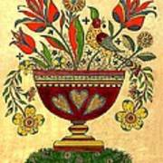 Distelfink With Flowers Art Print