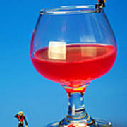 Diving In Red Wine Little People Big Worlds Art Print