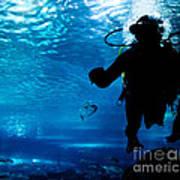 Diving In The Ocean Underwater Art Print