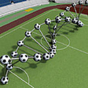Dna String Of Soccer Player On The Field Of Stadium Art Print