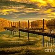 Dock Reflections-golden Art Print