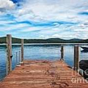 Dock On Summer Lake Art Print