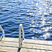 Dock On Summer Lake With Sparkling Water Art Print