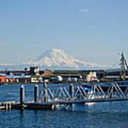 Dock View Of Mt. Rainier Art Print