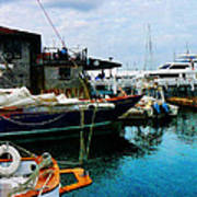 Docked Boats In Newport Ri Art Print