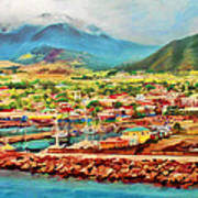 Docked In St. Kitts Art Print