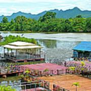 Docking Area On River Kwai In Kanchanaburi-thailand Art Print