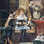 Doddy And Her Pets Art Print by Charles Trevor Grand