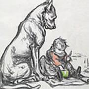 Dog And Child Art Print by Robert Noir