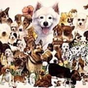 Dog And Puppies Art Print by John YATO