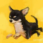 Dog Chihuahua Yellow Splash Art Print