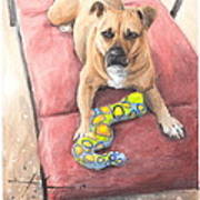 Dog On A Lounge Chair Watercolor Portrait Art Print