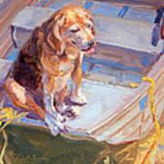 Dog On Boat Art Print