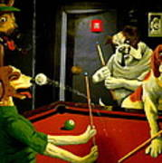 Dogs Playing Pool Wall Art Unknown Painter Art Print