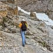 Dolomiti - Hiker In Val Setus Art Print