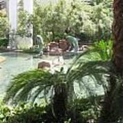 Dolphin Pond And Garden Green Art Print