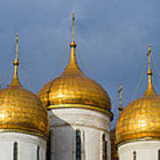 Domes Of The Dormition Cathedral Of Moscow Kremlin - Square Art Print